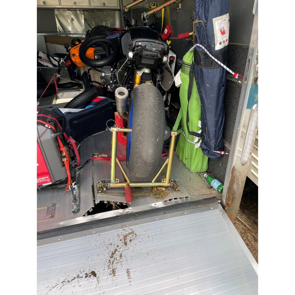 Trailer flips 10+ times....Pit Bull TRS keeps the bike in place